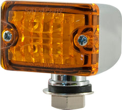 CAL CUSTOM SMALL TURN SIGNAL INDICATOR LIGHT AMBER LENS LED CHROME PEDESTAL MOUNT