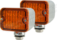 CAL CUSTOM X2 MEDIUM TURN SIGNAL INDICATOR LIGHT AMBER LENS LED CHROME PEDESTAL MOUNT