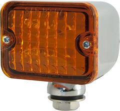 CAL CUSTOM MEDIUM TURN SIGNAL INDICATOR LIGHT AMBER LENS LED CHROME PEDESTAL MOUNT
