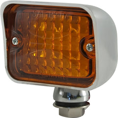 CAL CUSTOM LARGE TURN SIGNAL INDICATOR LIGHT AMBER LENS LED CHROME PEDESTAL MOUNT