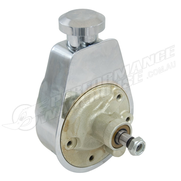 SAGINAW STYLE CHROME POWER STEERING PUMP, CHEV, GM, HOLDEN, SBC