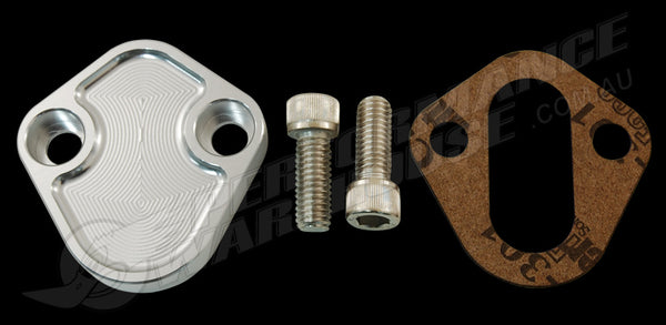 FUEL PUMP BLOCK OFF PLATE FORD WINDSOR 289 302 351 CLEAR ANODISED BILLET ALUMINIUM