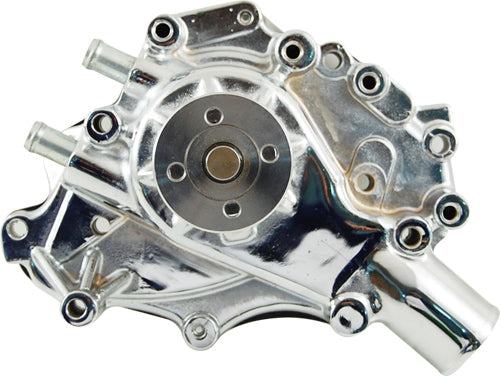 CAL CUSTOM FORD WINDSOR V8 WATER PUMP LEFT HAND INLET CHROME ALUMINIUM