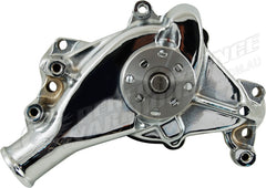 CAL CUSTOM SMALL BLOCK CHEV LONG WATER PUMP CHROME ALUMINIUM