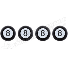BLACK 8 BALL TYRE VALVE STEM CAPS, PACK OF 4, RETRO