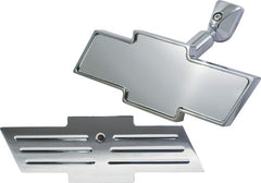 CAL CUSTOM CHEVY BOWTIE REAR VIEW INTERIOR MIRROR BALL MILLED DESIGN POLISHED ALUMINIUM
