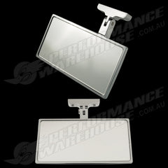 CHROME ALUMINIUM RECTANGULAR INTERIOR MIRROR STREET ROD HOT ROD SCREW ON MOUNT
