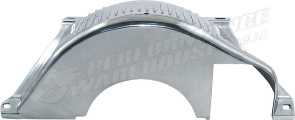 GM/CHEV TH350,400,700 FLYWHEEL DUST COVER POLISHED FINNED ALUMINIUM