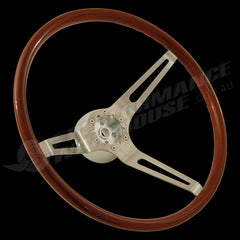 "15"" WALNUT WOOD RIM STEERING WHEEL WITH BILLET ALUMINIUM ADAPTOR GM 1953-94"