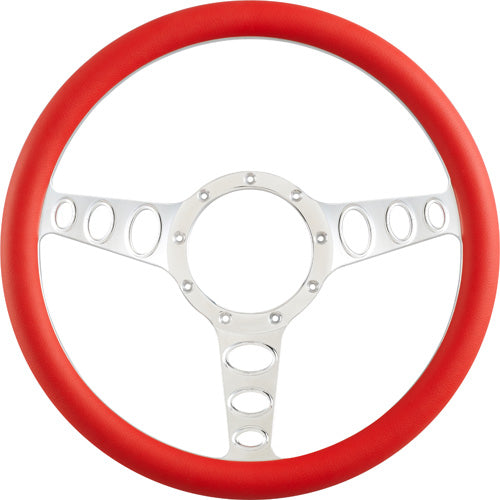 "CAL CUSTOM 14"" OUTLAW BILLET ALUMINIUM STEERING WHEEL, RED LEATHER HALF-WRAP"