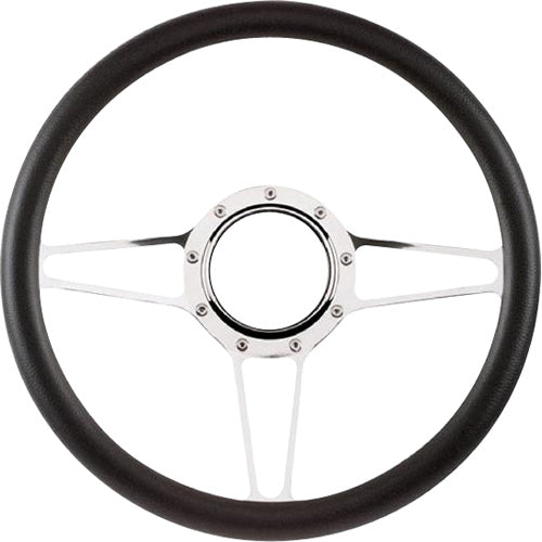 "CAL CUSTOM 14"" STREET LITE BILLET ALUMINIUM STEERING WHEEL, BLACK LEATHER HALF-WRAP"