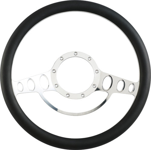 "CAL CUSTOM 15.5"" CLASSIC BILLET ALUMINIUM STEERING WHEEL, BLACK LEATHER HALF-WRAP"