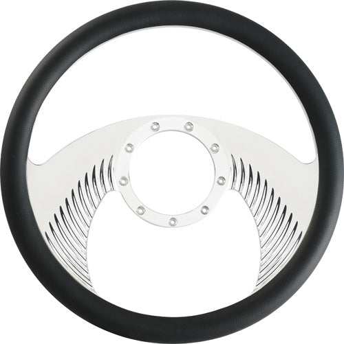"CAL CUSTOM 14"" BLACKHAWK BILLET ALUMINIUM STEERING WHEEL, BLACK LEATHER HALF-WRAP"