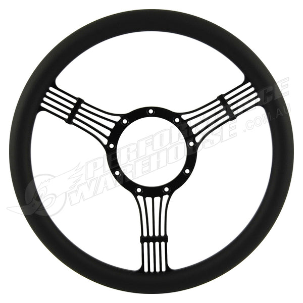 "CAL CUSTOM 14"" BANJO BILLET STEERING WHEEL BLACK ½ WRAP Anodised Black Spokes & Finger Notches"