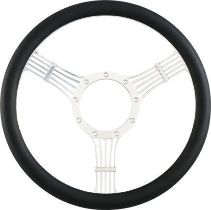 "CAL CUSTOM 14"" BANJO BILLET ALUMINIUM STEERING WHEEL, BLACK LEATHER HALF-WRAP"
