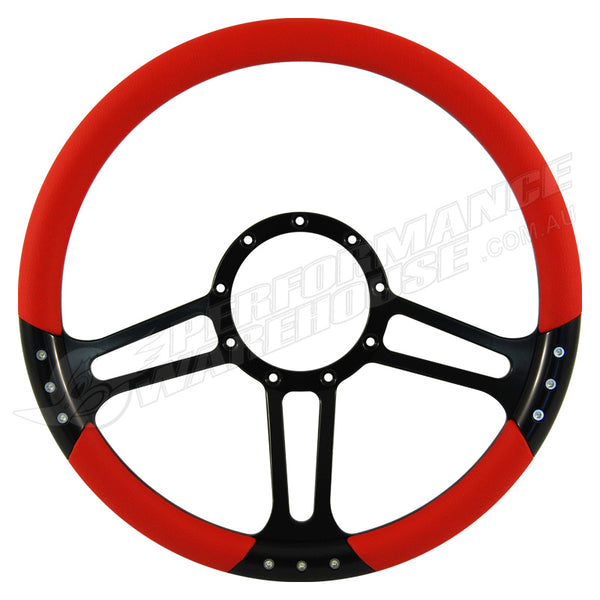 "CAL CUSTOM 14"" BOOST BILLET STEERING WHEEL RED ½ WRAP Anodised Black Spokes & Finger Notches"