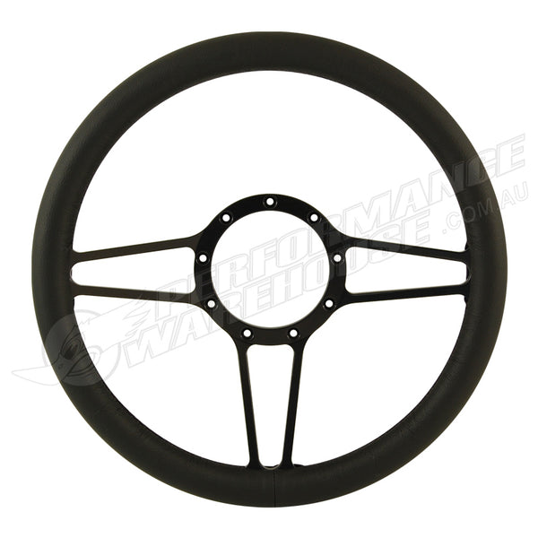 "CAL CUSTOM 14"" STREET LITE BLACK ANODISED BILLET ALUMINIUM 9 BOLT STEERING WHEEL BLACK LEATHER FULL-WRAP"
