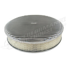 "14"" ROUND AIR CLEANER KIT FULL FINNED POLISHED"