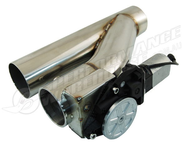 "STAINLESS STEEL 2-1/2"" ELECTRIC EXHAUST CUT-OUT WITH SWITCH - COMPACT DESIGN"