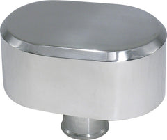 CAL CUSTOM POLISHED ALUMINIUM OVAL SMOOTH TOP PUSH-IN BREATHER CAP, NO PCV