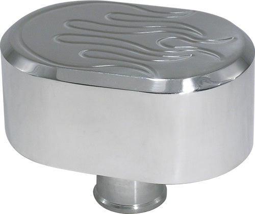 CAL CUSTOM POLISHED ALUMINIUM OVAL FLAME TOP PUSH-IN BREATHER CAP, NO PCV