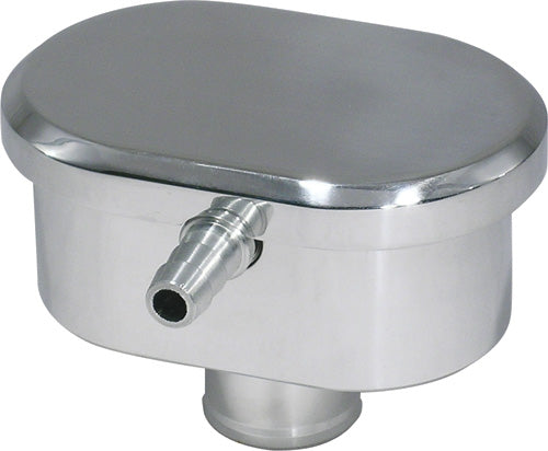 CAL CUSTOM POLISHED ALUMINIUM OVAL SMOOTH TOP PUSH-IN BREATHER CAP, WITH PCV