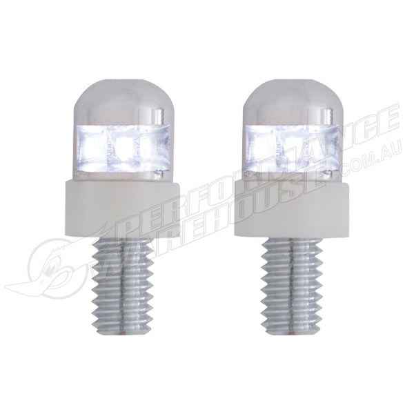 CAL CUSTOM WHITE LED LICENSE/NUMBER PLATE FASTENER (2 PACK)