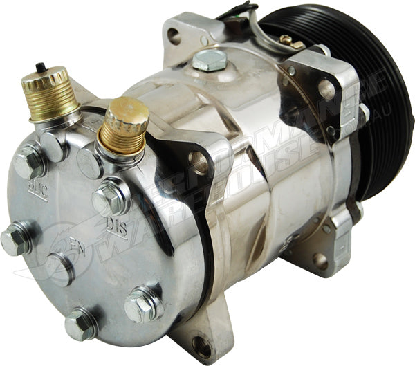 SANDEN 508 STYLE A/C COMPRESSOR CHROMED HOUSING, SERPENTINE PULLEY