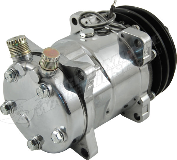 SANDEN 508 STYLE A/C COMPRESSOR POLISHED HOUSING, V BELT PULLEY