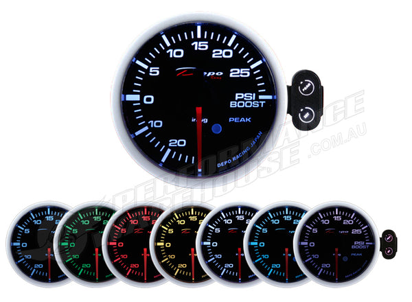 DEPO RACING 7 COLOUR BOOST PSI STEPPER MOTOR GAUGE 52MM, RACE, DRIFT, TURBO