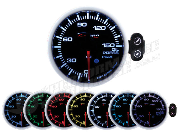 DEPO RACING 7 COLOUR OIL PRESSURE STEPPER MOTOR GAUGE 52MM, RACE, DRIFT