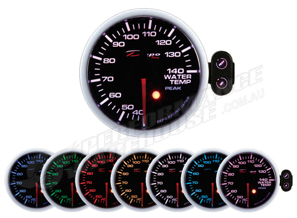 DEPO RACING 7 COLOUR WATER TEMP STEPPER MOTOR ELECTRIC GAUGE 52MM, RACE, DRIFT