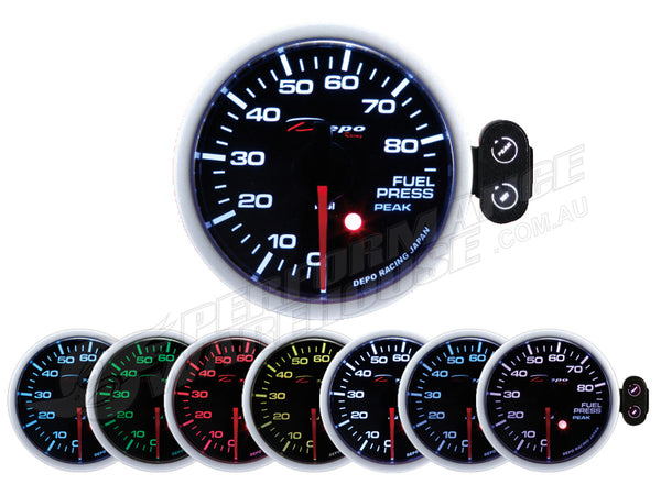 DEPO RACING 7 COLOUR FUEL PRESSURE STEPPER MOTOR GAUGE 52MM, RACE, DRIFT