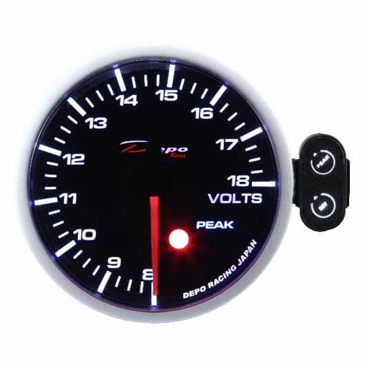 DEPO RACING VOLT STEPPER MOTOR GAUGE 52MM PEAK RECALL SERIES WITH SMOKED LENS