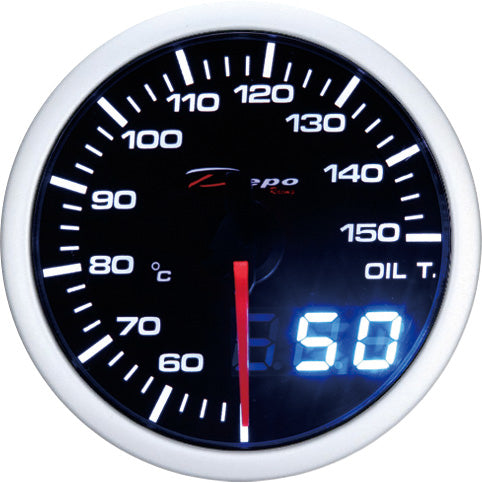 DEPO RACING OIL TEMP STEPPER MOTOR GAUGE 52MM DUAL VIEW, RACE, DRIFT