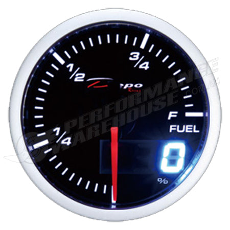DEPO RACING FUEL LEVEL STEPPER MOTOR GAUGE 52MM DUAL VIEW, RACE, DRIFT