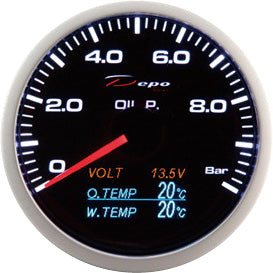 DEPO RACING 4 IN 1 OIL PRESS VOLT OIL TEMP WATER TEMP STEPPER MOTOR GAUGE 60MM