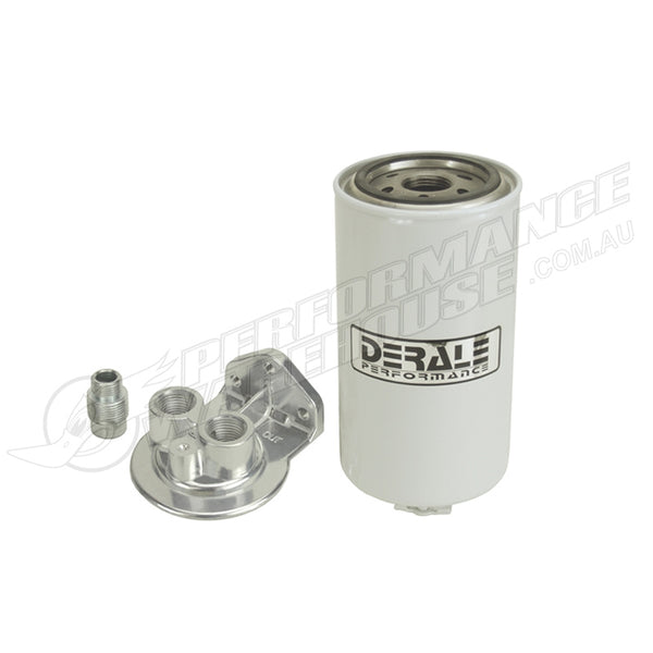 "DERALE FUEL FILTER / WATER SEPARATOR KIT SINGLE MOUNT 1/2"" NPT PORTS UP 13072"