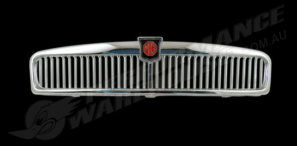 MGB MG BLACK/RED BADGE ALUMINIUM GRILLE SLATS CHROME SURROUND BRAND NEW