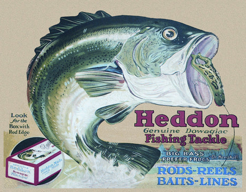 HEDDON'S FROGS - LARGE METAL TIN SIGN 31.7CM X 40.6CM GENUINE AMERICAN MADE