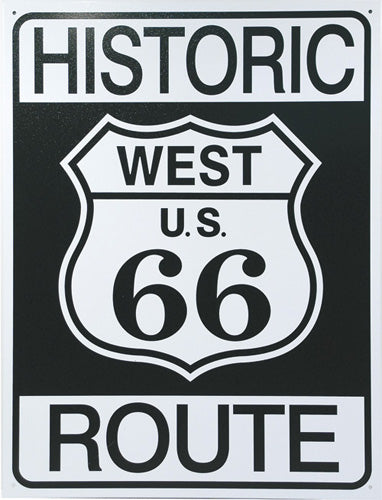 HISTORIC ROUTE 66 - LARGE METAL TIN SIGN 40.6CM X 31.7CM GENUINE AMERICAN MADE