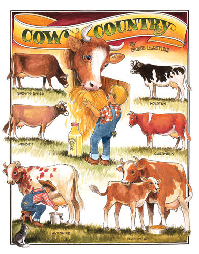 BATES - COW COUNTRY - LARGE METAL TIN SIGN 40.6CM X 31.7CM GENUINE AMERICAN MADE