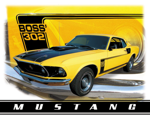 FORD MUSTANG BOSS 302 - LARGE METAL TIN SIGN 31.7CM X 40.6CM GENUINE AMERICAN MADE