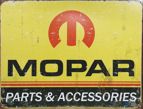 MOPAR LOGO - LARGE METAL TIN SIGN 31.7CM X 40.6CM GENUINE AMERICAN MADE