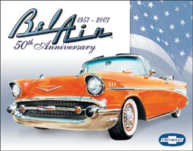 CHEVY BEL AIR 50TH - LARGE METAL TIN SIGN 31.7CM X 40.6CM GENUINE AMERICAN MADE