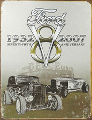 FORD DEUCE - 75TH ANNIVERSARY - LARGE METAL TIN SIGN 40.6CM X 31.7CM