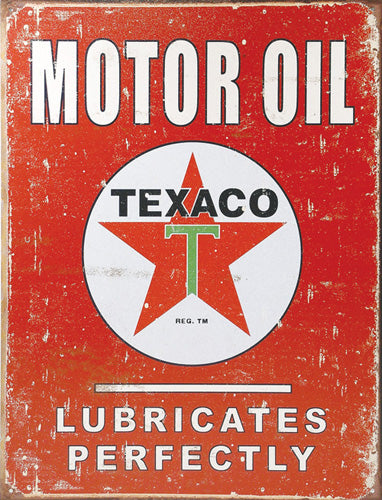TEXACO - LUBRICATES - LARGE METAL TIN SIGN 40.6CM X 31.7CM GENUINE AMERICAN MADE