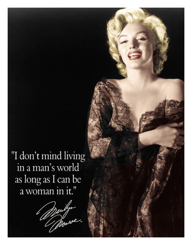 MARILYN - MAN'S WORLD - LARGE METAL TIN SIGN 40.6CM X 31.7CM GENUINE AMERICAN MADE