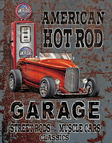 HOT ROD - LARGE METAL SIGN 40.6CM X 31.7CM GENUINE AMERICAN MADE