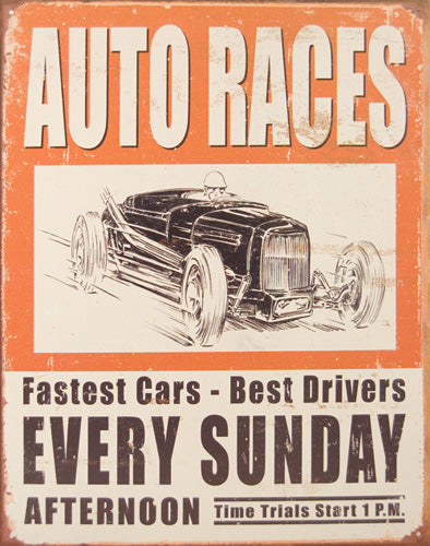 VINTAGE AUTO RACES - LARGE METAL TIN SIGN 40.6CM X 31.7CM GENUINE AMERICAN MADE
